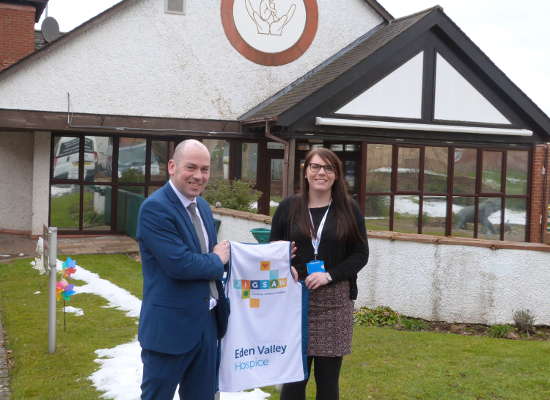 (Left to Right) Grant Seaton and Natalie Bingham, Corporate Fundraiser at Jigsaw, Cumrbia's Children's Hospice